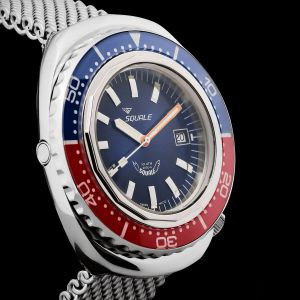 Squale 101 atmos 2002 Blue / Red Polished Dive Watch